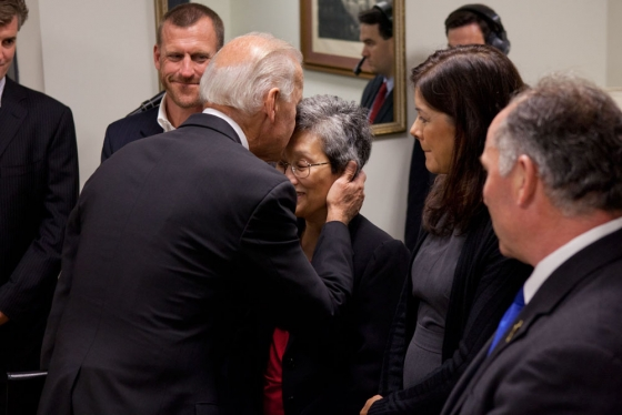Vice President Joe Biden talks with the subjects of a documentary called Rebirth, before a screening in the South Court Auditorium at the White House, September 7, 2011. (Official White House Photo by David Lienemann)