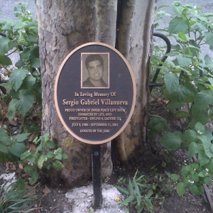 A plaque in honor of Sergio Gabriel Villanueva, part of a memorial that Tanya Villanueva Tepper puts up each year. She had plans to marry the former firefighter before he was killed on 9/11. Cindy Rodgriguez