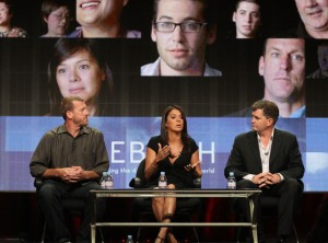 (L-R) Tim Brown, Tanya Villanueva-Tepper and Director/Producer Jim Whitaker speak during 'Rebirth' panel during the Showtime portion of the 2011 Summer TCA Tour held at the Beverly Hilton Hotel on August 4, 2011 in Beverly Hills, California. (August 3, 2011 - Source: Frederick M. Brown/Getty Images North America)